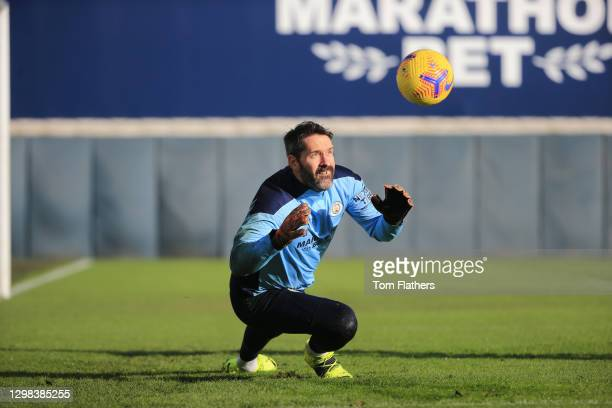 Manchester City's Scott Carson in action during training at Manchester City Football Academy on January 25, 2021 in Manchester, England.