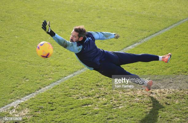 Manchester City's Scott Carson in action during training at Manchester City Football Academy on February 12, 2021 in Manchester, England.