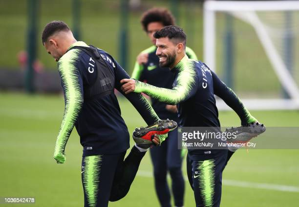 Manchester City's Sergio Aguero and Nicolas Otamendi during training at Manchester City Football Academy on September 20 2018 in Manchester England