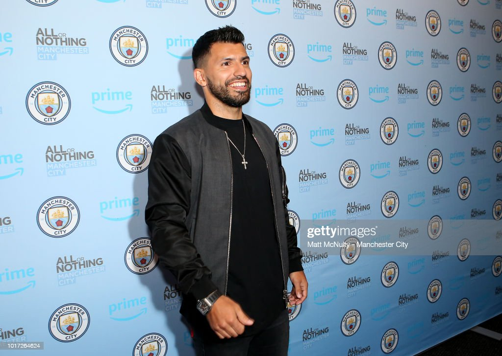 Manchester City's Sergio Aguero arrives at The Printworks on August 15, 2018 in Manchester, England.