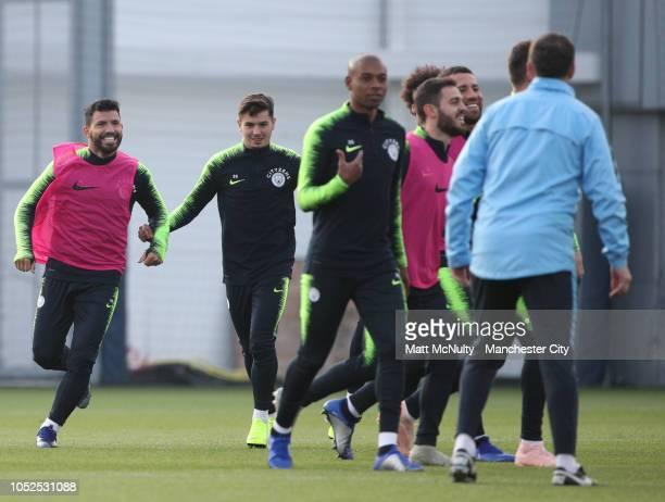 Manchester City's Sergio Aguero Brahim Diaz Fernandinho Bernardo Silva and Nicolas Otamendi in action during training at Manchester City Football...