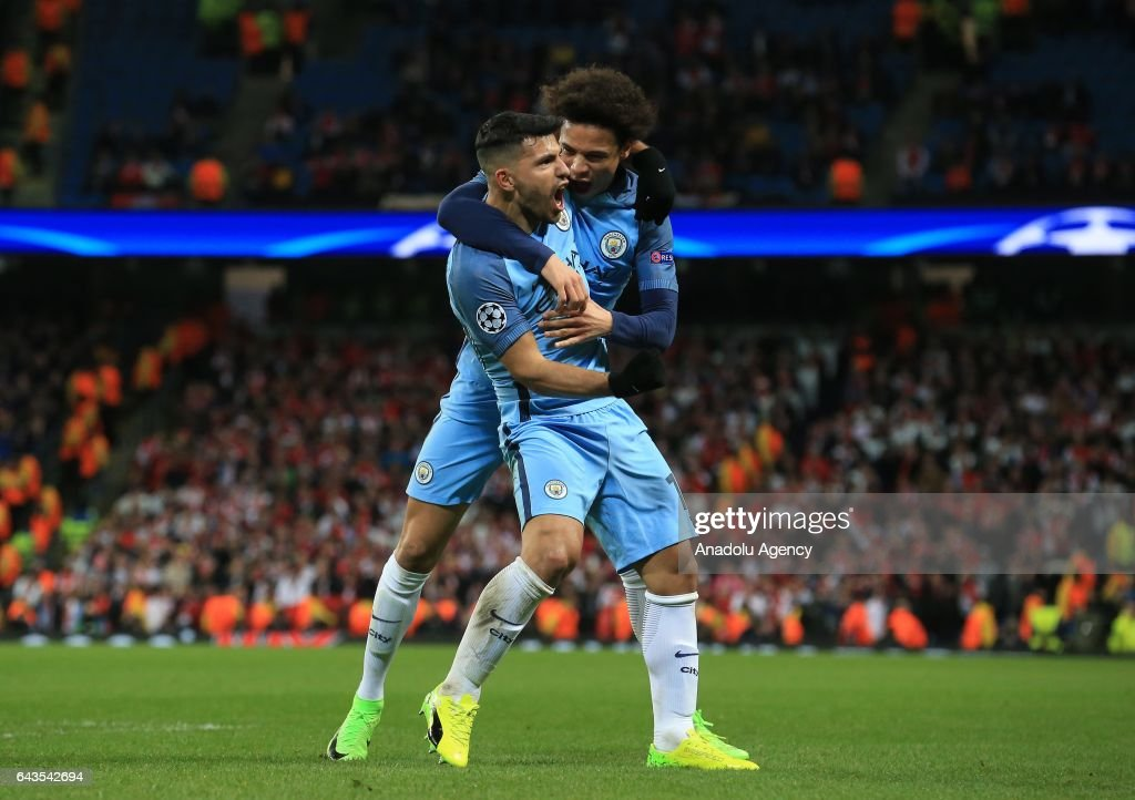 Manchester City's Sergio Aguero (L) celebrates scoring a goal during the UEFA Champions League Round of 16 soccer match between Manchester City FC and AS Monaco at the Etihad stadium in Manchester, United Kingdom on February 21, 2017.