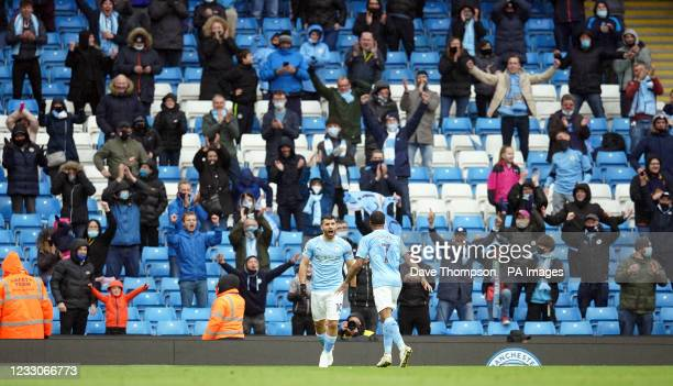 Manchester City's Sergio Aguero celebrates scoring their side's fifth goal of the game during the Premier League match at the Etihad Stadium,...