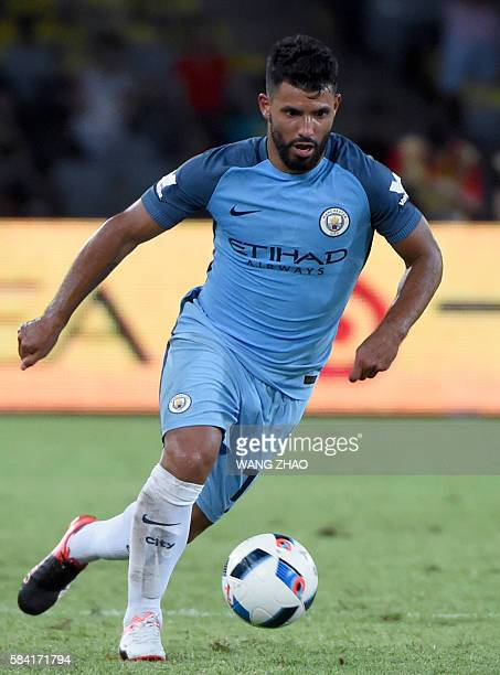 Manchester City's Sergio Aguero controls the ball during the 2016 International Champions Cup football match between Manchester City and Borussia...