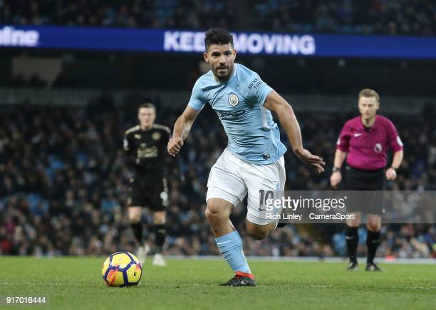 Manchester City's Sergio Aguero during the Premier League match between Manchester City and Leicester City at Etihad Stadium on February 10 2018 in...