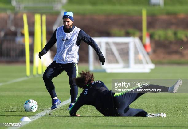 Manchester City's Sergio Aguero during the training session at Manchester City Football Academy on October 31 2018 in Manchester England