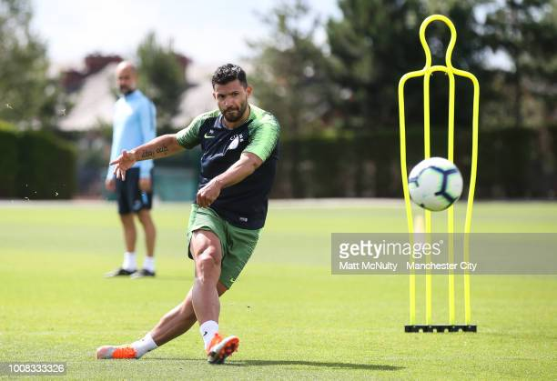 Manchester City's Sergio Aguero during training at Manchester City Football Academy on July 31 2018 in Manchester England
