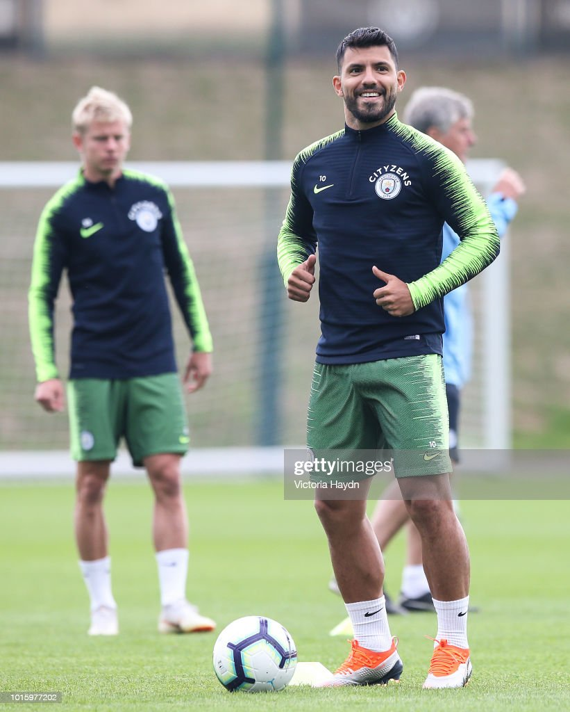 Manchester City's Sergio Aguero during training at Manchester City Football Academy on August 10, 2018 in Manchester, England.