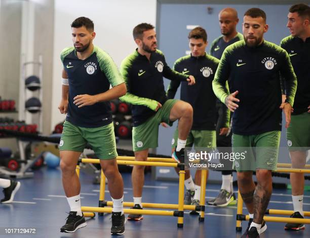 Manchester City's Sergio Aguero during training in the gym at Manchester City Football Academy on August 15 2018 in Manchester England