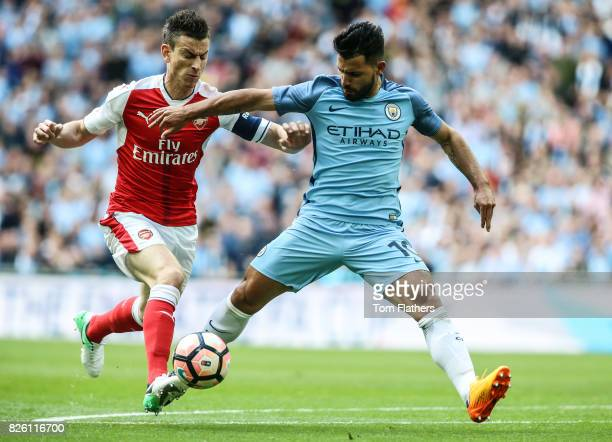 Manchester City's Sergio Aguero in action against Arsenal in the FA Cup Semi Final