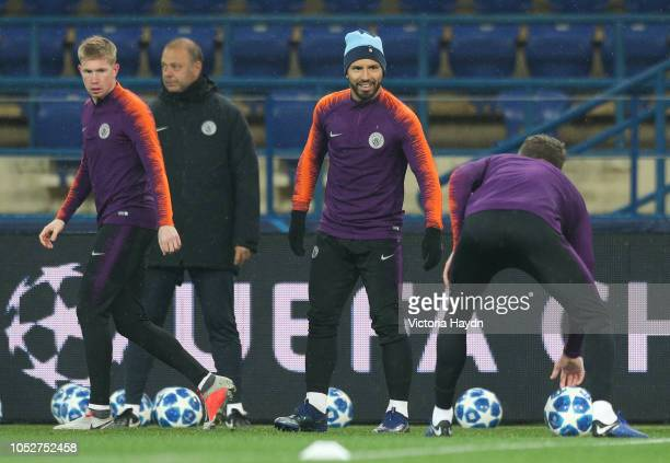 Manchester City's Sergio Aguero in action during a training session ahead of their UEFA Champions League match against Shakhtar Donetsk at the...