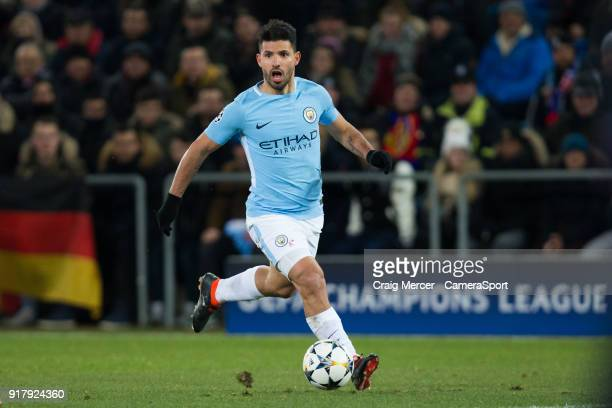 Manchester City's Sergio Aguero in action during the UEFA Champions League Round of 16 First Leg match between FC Basel and Manchester City at St...