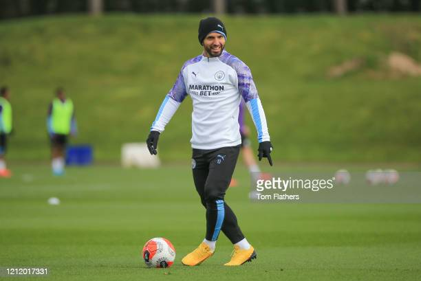 Manchester City's Sergio Aguero in action during training at Manchester City Football Academy on March 12 2020 in Manchester England