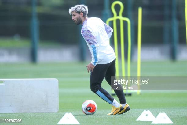 Manchester City's Sergio Aguero in action during training at Manchester City Football Academy on May 23 2020 in Manchester England