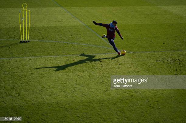 Manchester City's Sergio Aguero in action during training at Manchester City Football Academy on February 12, 2021 in Manchester, England.