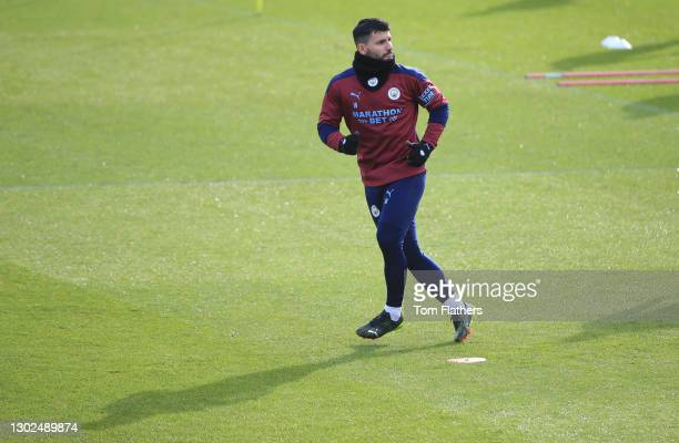 Manchester City's Sergio Aguero in action during training at Manchester City Football Academy on February 16, 2021 in Manchester, England.