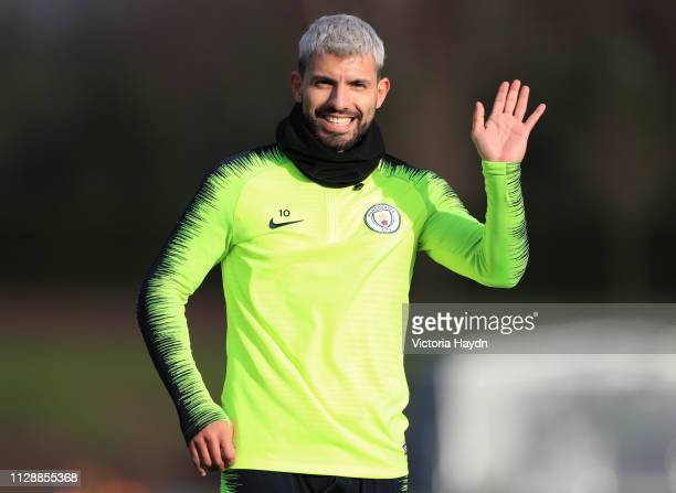 Manchester City's Sergio Aguero reacts at Manchester City Football Academy on March 6 2019 in Manchester England