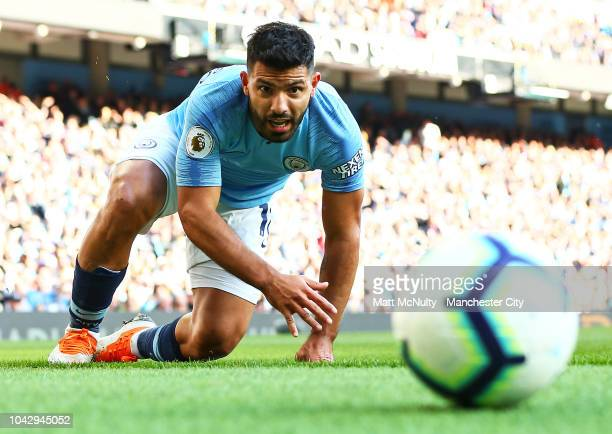 Manchester City's Sergio Aguero reacts during the Premier League match between Manchester City and Brighton Hove Albion at Etihad Stadium on...