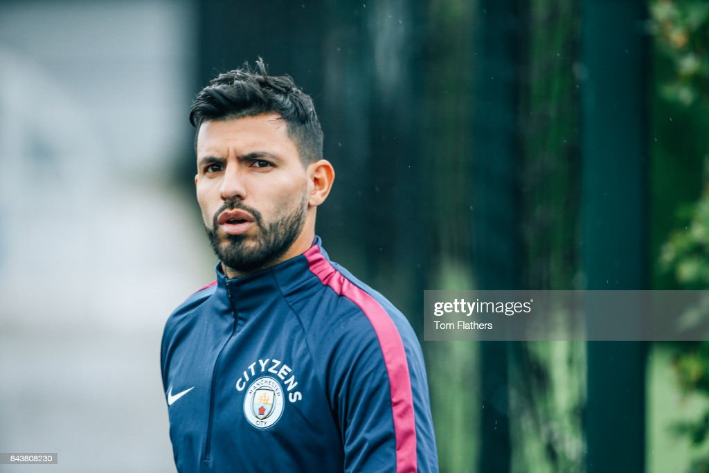 Manchester City's Sergio Aguero walks to training at Manchester City Football Academy on September 7, 2017 in Manchester, England.