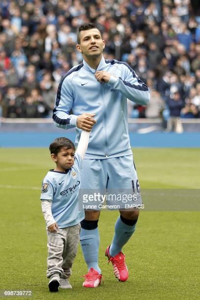 Manchester City's Sergio Aguero with his son Benjamin Aguero Maradona