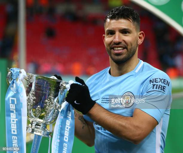 Manchester City's Sergio Aguero with Trophy during Carabao Cup Final match between Arsenal against Manchester City at Wembley stadium London England...