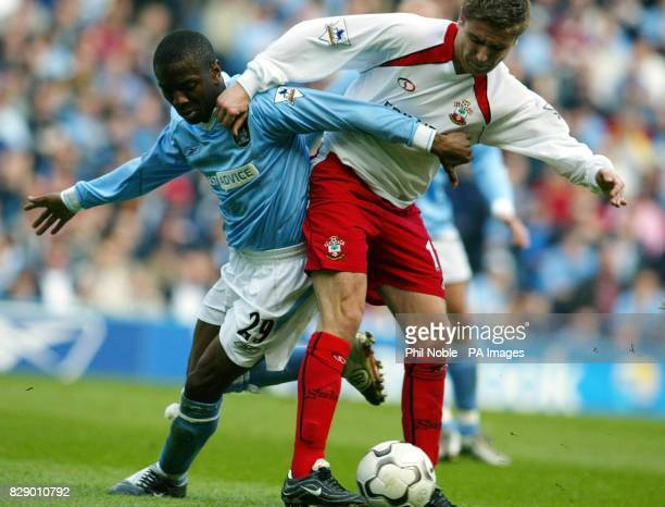 Manchester City's Shaun WrightPhillips puts pressure on Marian Pahars of Southampton during their Barclaycard Premiership match at Main Road...