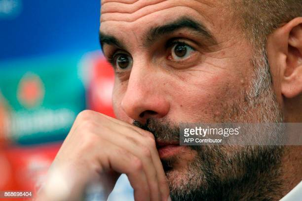 Manchester City's Spanish coach Pep Guardiola gives a press conference on the eve of the UEFA Champions League football match Napoli vs Manchester...