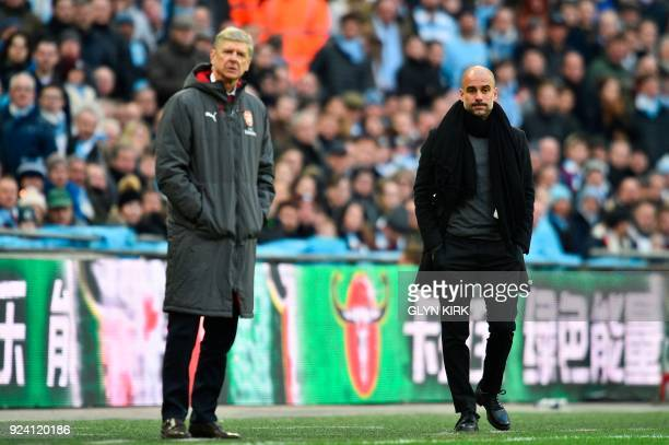 Manchester City's Spanish manager Pep Guardiola and Arsenal's French manager Arsene Wenger watch from the touchline during the English League Cup...