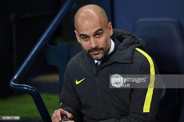 Manchester City's Spanish manager Pep Guardiola arrives for the English Premier League football match between Manchester City and Watford at the...