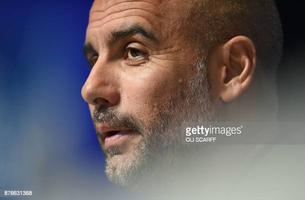 Manchester City's Spanish manager Pep Guardiola attends a press conference at the City Football Academy in Manchester north west England on November...
