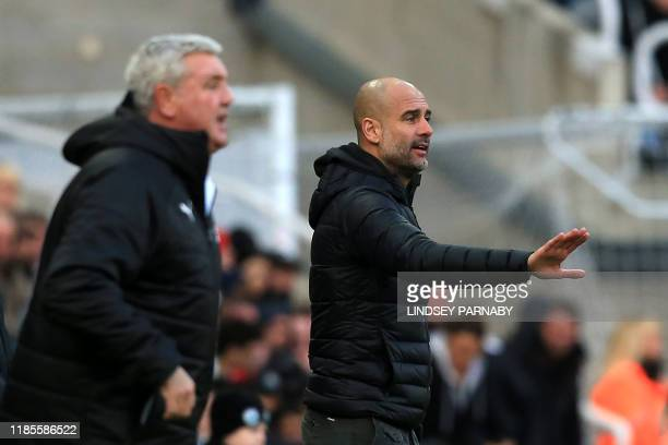 Manchester City's Spanish manager Pep Guardiola gestures as Newcastle United's English head coach Steve Bruce looks on during the English Premier...