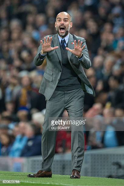 Manchester City's Spanish manager Pep Guardiola gestures from the touchline during the UEFA Champions League group C football match between...