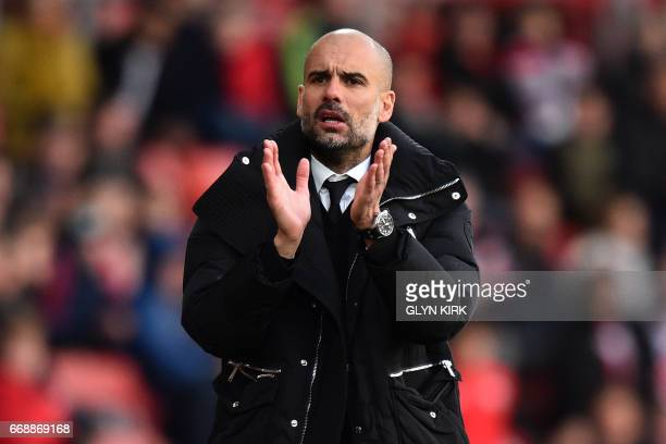 Manchester City's Spanish manager Pep Guardiola gestures on the touchline during the English Premier League football match between Southampton and...