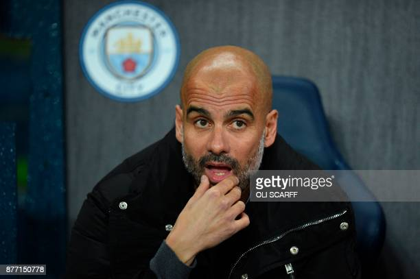 Manchester City's Spanish manager Pep Guardiola is seen ahead of kick off of the UEFA Champions League Group F football match between Manchester City...