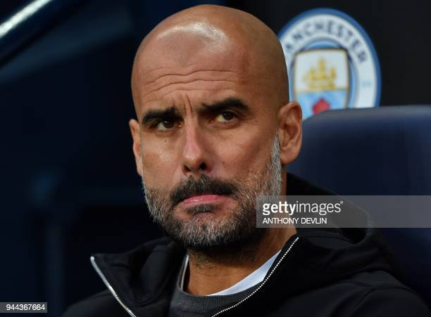 Manchester City's Spanish manager Pep Guardiola reacts ahead of the UEFA Champions League second leg quarterfinal football match between Manchester...