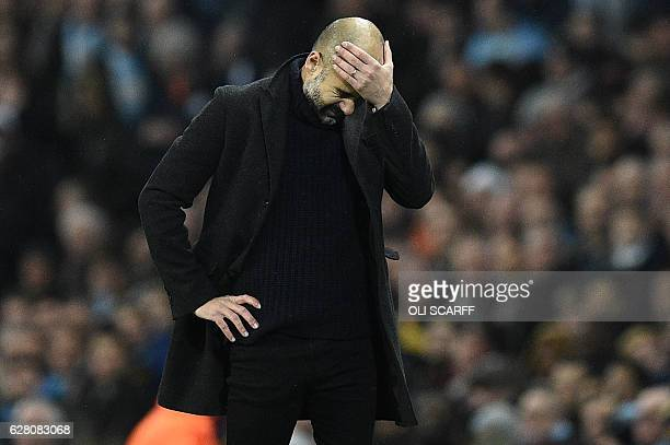 Manchester City's Spanish manager Pep Guardiola reacts during the UEFA Champions League group C football match between Manchester City and Celtic at...