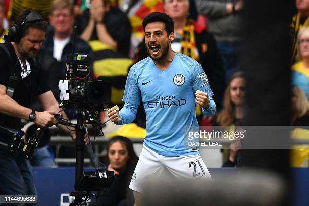 Manchester City's Spanish midfielder David Silva celebrates after he scores the team's first goal during the English FA Cup final football match...