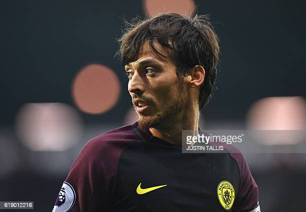 Manchester City's Spanish midfielder David Silva is pictured during the English Premier League football match between West Bromwich Albion and...