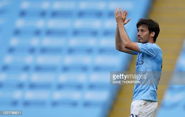 Manchester City's Spanish midfielder David Silva leaves the field on his final appearanc e for the club during the English Premier League football...