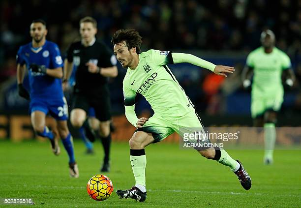 Manchester City's Spanish midfielder David Silva passes the ball during the English Premier League football match between Leicester City and...