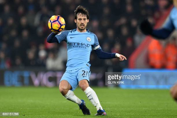 Manchester City's Spanish midfielder David Silva passes the ball during the English Premier League football match between Bournemouth and Manchester...