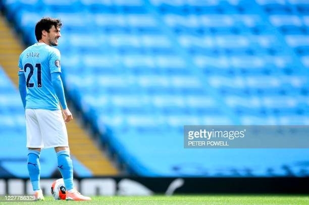 Manchester City's Spanish midfielder David Silva prepares to kick off in the English Premier League football match between Manchester City and...