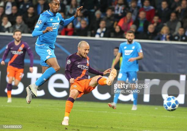 Manchester City's Spanish midfielder David Silva scores the 21 during the UEFA Champions League group F football match between TSG 1899 Hoffenheim...