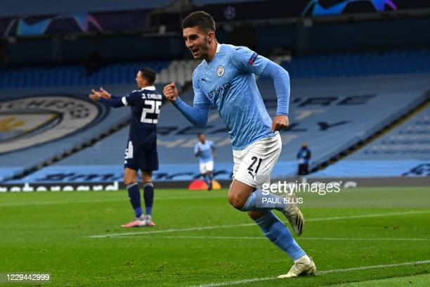 Manchester City's Spanish midfielder Ferran Torres celebrates scoring the opening goal during the UEFA Champions League football Group C match...