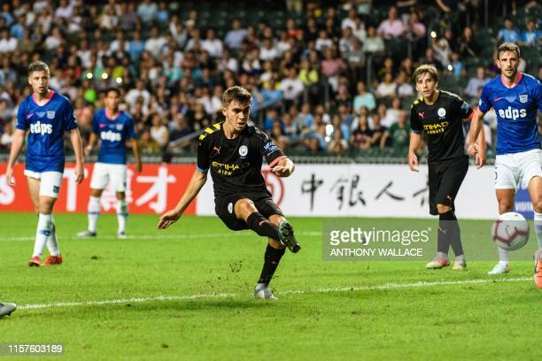 Manchester City's Spanish midfielder Iker Pozo scores a goal during the friendly football match between English Premier League club Manchester City...