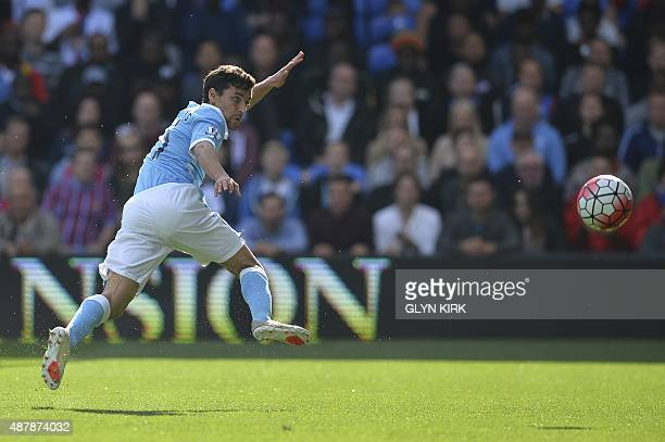 Manchester City's Spanish midfielder Jesus Navas misses the open net during the English Premier League football match between Crystal Palace and...