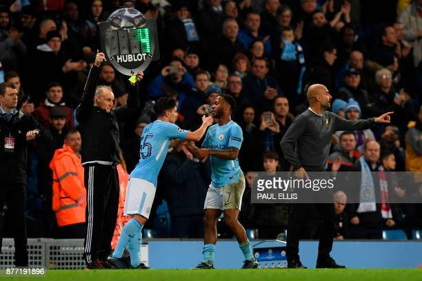 Manchester City's Spanishborn midfielder Brahim Diaz comes on as a substitute for goalscorer Manchester City's English midfielder Raheem Sterling...
