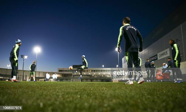 Manchester City's squad in action at Manchester City Football Academy on December 3 2018 in Manchester England