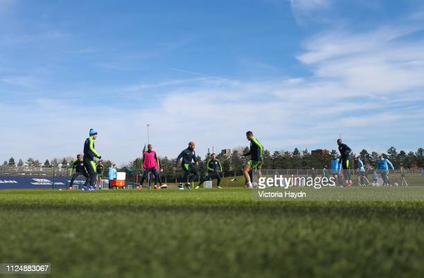 Manchester City's squad in action at Manchester City Football Academy on February 14 2019 in Manchester England