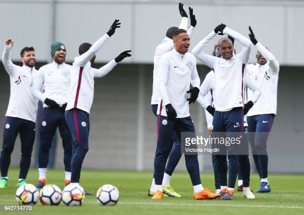 Manchester City's squad react during training at Manchester City Football Academy on April 6 2018 in Manchester England